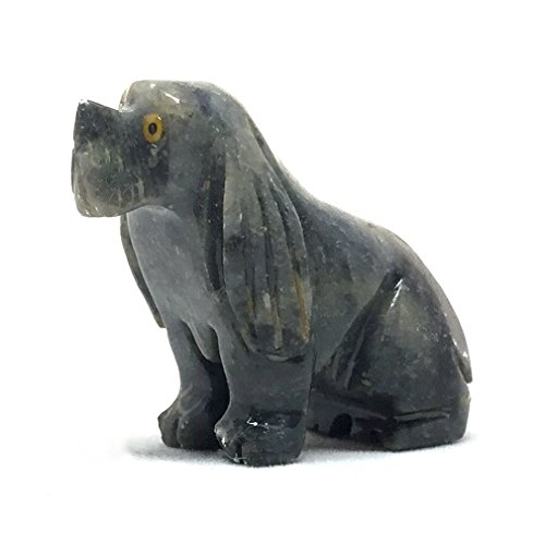 Nelson Creations, LLC Dog Sitting Natural Soapstone Hand-Carved Animal Charm Totem Stone Carving Figurine, 1.5 Inch