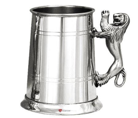 (PEWTER LION HANDLE TANKARD, Finest Hand Made English Pewter, Made in Sheffield England)