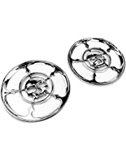 amazon speaker systems electronics automotive 4 Inch 8 Ohm Speakers 2 x chrome skull speaker cover horn grill trim round caps for 1996 2013 96
