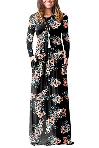 PALINDA Women's Floral Printed Long Sleeve Empire Waist Maxi Dresses with Pockets (L, Black)