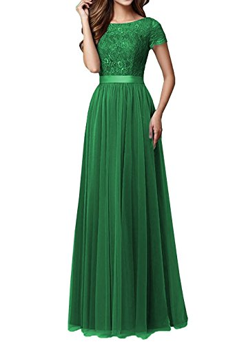 Evening Prom Dress Sleeves Anlin Women Tulle Green Dresses AN151 s Lace Hunter Bridesmaid A0f8Oq