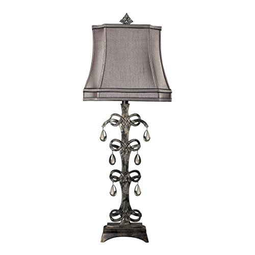 Durand Table Lamp (Manhattan Collection Castello Teak Crystal Table Lamp in Durand Finish)