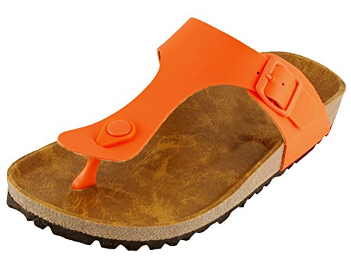 Cambridge Select Women's Thong Slip On Slide Platform Sandal (10 B(M) US, Orange)
