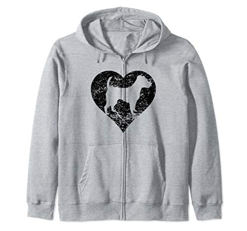 Distressed Jack Russell Terrier Heart Dog Owner Graphic Zip Hoodie