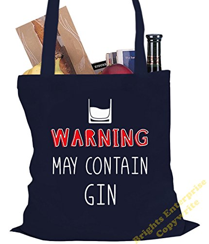 Tote Shopping Gym Beach Bag (#33) with the wording Warning. May contain Gin - Size 38 x 42 cm 10 litres - from our unique tote reuseable bag range. An original Birthday or Christmas stocking filler gi Blue