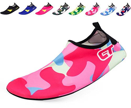 Giotto Wassersport Barefoot Aerobic Schuhe Leichte Quick-Dry Aqua Socken für Beach Pool Swim Yoga P5-Rosa