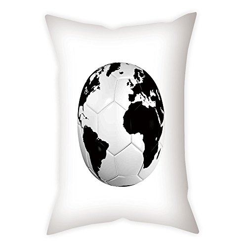iPrint Satin Throw Pillow Cushion Cover,Sports Decor,Soccer Ball with World Map Football Cup 2010 Entertaining Professional Game,Decorative Square Accent Pillow Case
