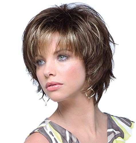 Beauty : ELIM Brown Wigs for White Women Short Curly Ladies Wig Synthetic Hair Womens Full Wigs with Wig Cap Z120C
