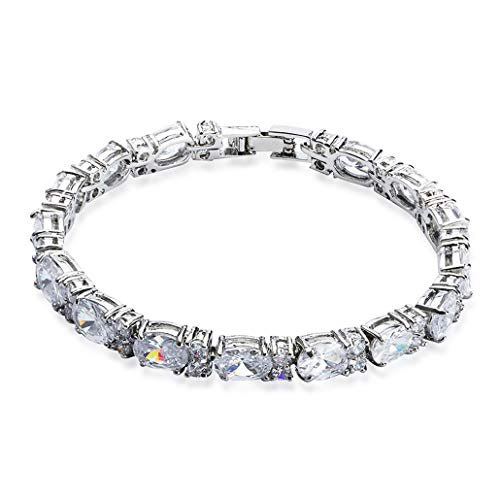 - SELOVO Wedding Cubic Zirconia Bracelet Chain Link Silver Tone (White)