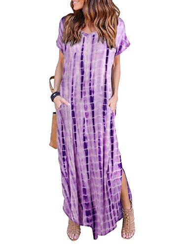 Women's Summer Maxi Dress Casual Loose Pockets Long Dress Short Sleeve Split Purple