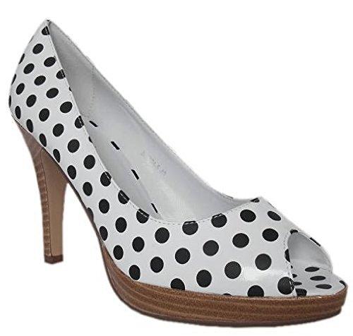 Shoes High Elegant White Black Black Pumps Fashion Black White Heel in wIwqFCf