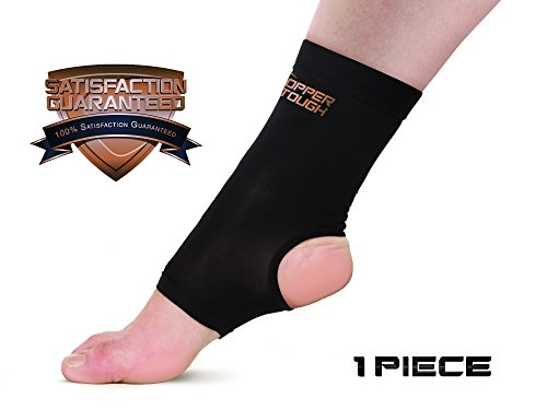 Copper Tough Compression Ankle Brace - High Performance Copper Compression Sleeve for Enhanced Circulation, Recovery, Joint Pain and Support for Men and Women - Athletic or Everyday Use - Small