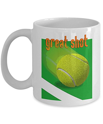 Tennis Ace Mug - Great Shot - Player Partner Tournament Gift - 11oz and GIG 15oz Ceramic Cup for Coffee Tea Favorite Drink - 11 oz