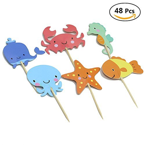 - HUELE Ocean Sea Animal Creature Fish Starfish Whale Octopus Crab Sea Horse Cake Cupcake Topper Picks For Party Decorations, pack of 48