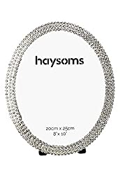 Oval Shaped Crystal Silver Metal Photo Frame