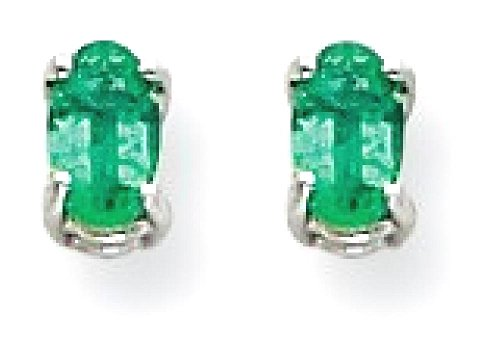 14k White Gold Green Emerald Post Stud Earrings Gemstone Fine Jewelry For Women Gifts For Her