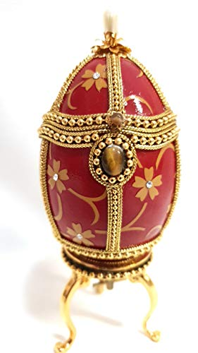 Egg Faberge Jewelry faberge Ring Box Collectible Egg Hand Made & Decorated Authentic Goose Egg by Master jewellers with Simulated Pearls Tiger Eye gems & Diamonds Embellished with 24 ct -
