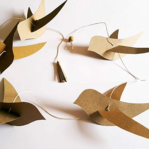 Guirlande déco chambre enfant,oiseaux colorés papier kraft ...