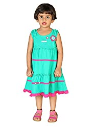 Lil Orchids Big Girls' Front Frilled Casual Dress 7-8 Years Green