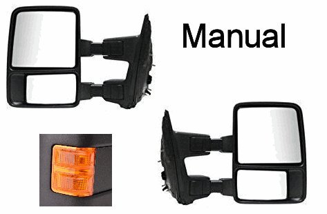 Set of Towing Mirrors Manual for Ford F250 F350 F450 F550 New Left Hand Right Hand LH RH PN 8C3Z-17683-BC / 8C3Z-17682-BC