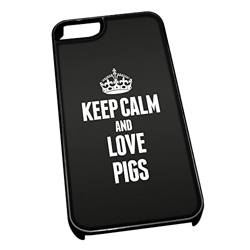 Nero cover per iPhone 5/5S 2466 nero Keep Calm and Love Pigs