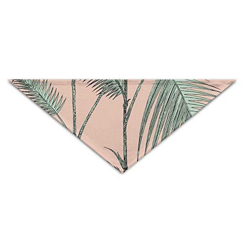 (LODRR Pet Scarf, Pink Palm Leaves Dog Bandanas Scarves Triangle Bibs Scarfs Unique Basic Neckerchief Cat Collars Pet Costume Accessory Kerchief for Large&Medium&Small)