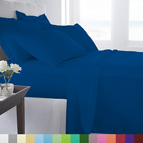 Supreme Super Soft 3 Piece Bed Sheet Set Deep Pocket Bedding - Queen Size Indigo (Sets Sheet Bed 4 3)