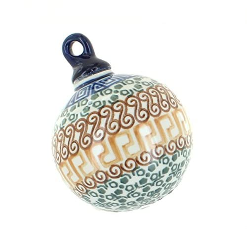 Polish Pottery Athena Small Round Christmas Ornament