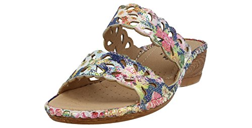Damen Kissen Blumendruck Mule Backless Walk Summer Kunstleder Toe Open Sandals 566S4w