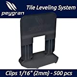 "1/16"" (2MM) Peygran Tile Leveling System 500 Clips. Lippage Free Tile and Stone Installation for PRO and DIY. The Most Precise and Reliable Product on The"