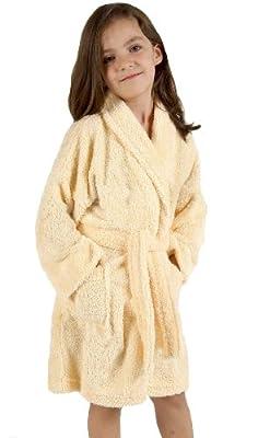 Aegean Apparel Solid Terry Loop Girl's Bathrobe, 100% Cotton, Yellow
