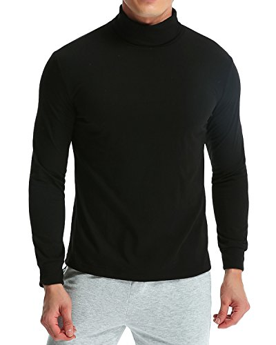 Turtleneck Shirt (MODCHOK Men's Casual Long Sleeve Turtleneck Shirts Cotton Collar Slim Pullover Tops Black XL)
