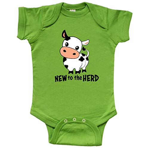inktastic - New to The Herd- Cute Cow Infant Creeper Newborn Apple Green 34598