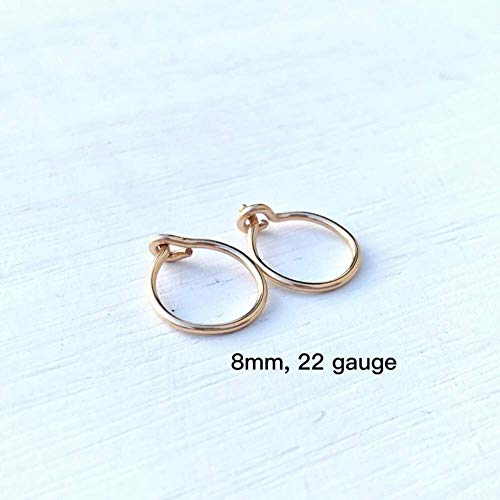 Extra Small Hoop Earrings 14K Yellow Gold Filled 8mm, Cartilage Tragus Second Hole Handmade Tiny Thin Hoops 22 - Gold Filled Hoop