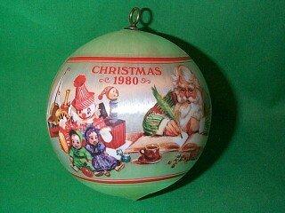 (Santa's workshop Satin Ball 1980 hallmark ornament)