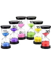 TEUN Sand Timer,6 Pieces Hourglass Sandglass Timer 1min / 3mins / 5mins / 10mins / 15mins / 30mins for Games Classroom Home Office (Six Colors)