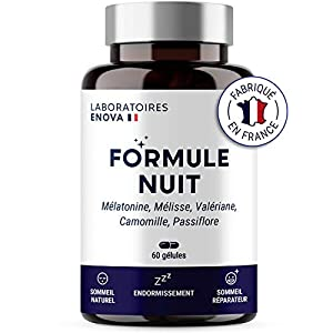 FORMULE NUIT | Mélatonine 1,9 mg + Plantes : Valériane, Mélisse, Camomille, Passiflore | Complément Alimentaire pour…