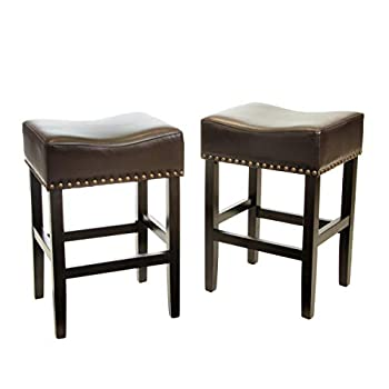 Image of Home and Kitchen Christopher Knight Home Chantal Backless Counter Stools with Brass Nailhead Studs, Set of 2, Brown