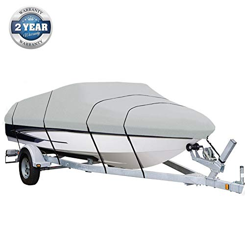Big Ant Runabout Boat Cover Waterproof Bass Boats Cover Fit for V-Hull Tri-Hull Boat Cover Up to Length 17-19 ft, Beam Width 102