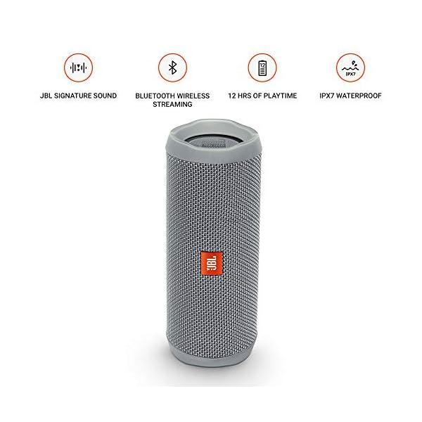 JBL Flip 4 - enceinte Bluetooth Portable Robuste - Étanche Ipx7 pour Piscine & Plage - Autonomie 12 Hrs - Qualité Audio JBL - Gris 3