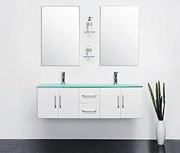 Badmöbel Badezimmermöbel Modell White Ice 150 Cm Badezimmer Waschbecken Waschtisch  Schrank Spiegel Set
