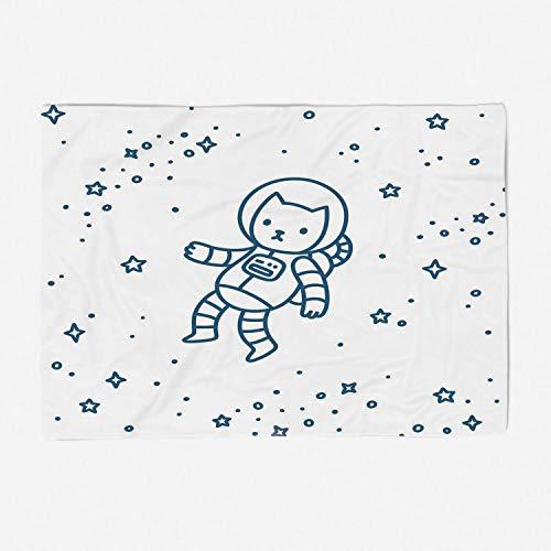 (YOLIYANA Blanket Bedspread Soft Fleece Throw Blanket/78x49 inches/Kids,Cute Cartoon Astronaut Pioneer Cat Flying in Outer Space Doodle Style Constellation,Dark Blue)