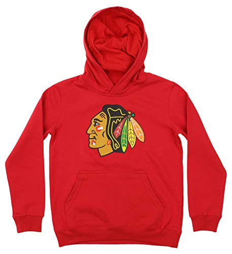 Outerstuff NHL Youth Boy's (8-20) Primary Logo Team Color Fleece Hoodie, Chicago Blackhawks X-Large(18) ()
