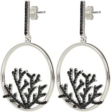 925 Sterling Silver Black Spinel Earring