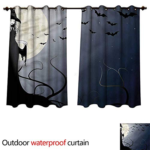 cobeDecor Halloween Outdoor Ultraviolet Protective Curtains Witch in Twilight on High W63 x L63(160cm x ()