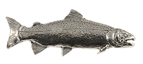 Creative Pewter Designs, Pewter Rainbow Trout, Handcrafted Freshwater Fish Lapel Pin Brooch, Antique Finish, (Fish Brooch)