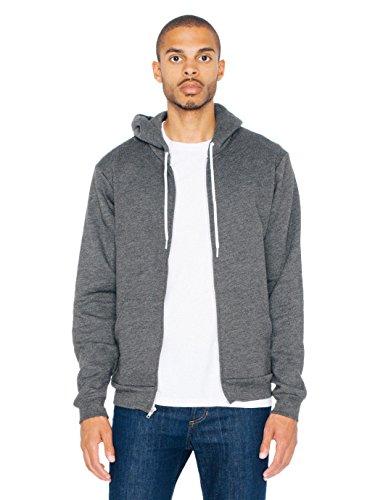 Cheap American Apparel Men Flex Fleece Zip Hoodie Size XS Dark Heather Grey for cheap