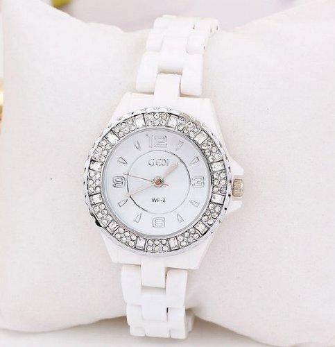 Enreach Crystal-accented Ceramic Bracelet Watch J508 (Silver)