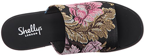 London Black Slide Women's Shellys Sandal Floral Enya 7aqdcxX