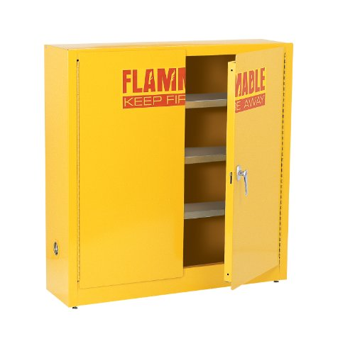 "Edsal SWH24F Pulverize Coated 18 Gauge Welded Steel Flammable Liquids Safety Wall Cabinet with 3 Levels, 24 Gallon Capability, 44"" Height x 43"" Width x 12"" Depth, Yellow"